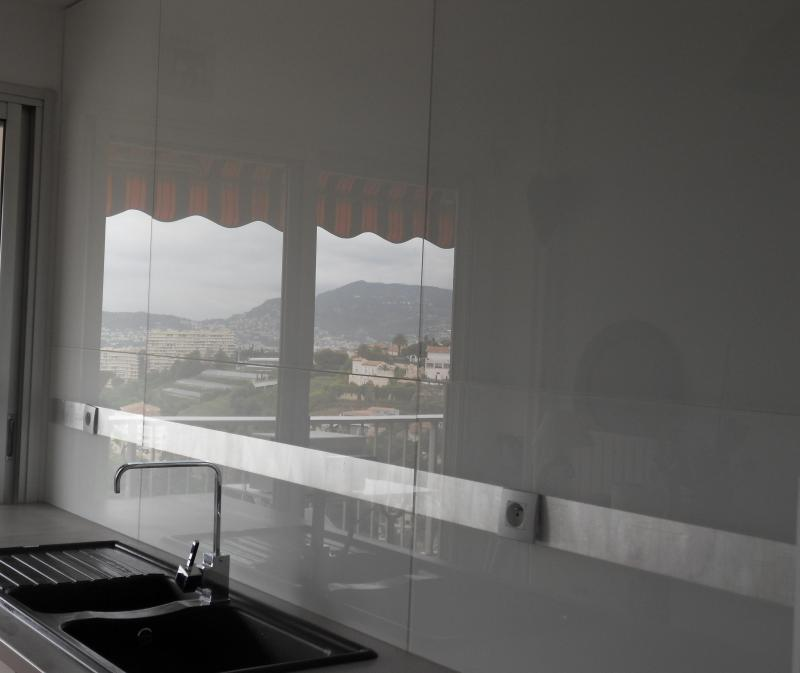 Cr dence de cuisine et plan de travail en verre laqu nice for Feuille inox credence